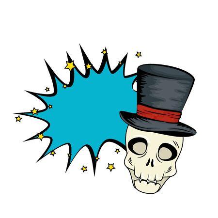 skull dead halloween with wizard hat style pop art vector illustration design