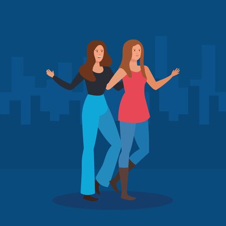 happy women friends together with casual clothes to friendship day, vector illustration Çizim
