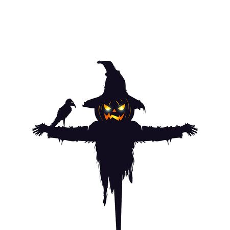 scarecrow halloween with raven isolated icon vector illustration design
