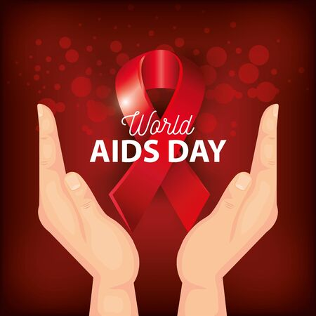 poster world aids day with hands and ribbon vector illustration design 矢量图像