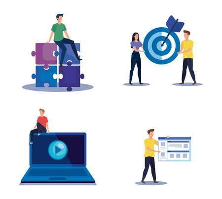 set of teamwork strategy with office icons information over white background, vector illustration