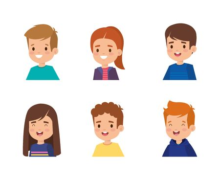 set of happy girls and boys with hairstyle over white background vector illustration