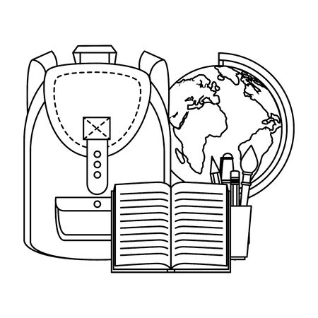 schoolbag with world map and book vector illustration design