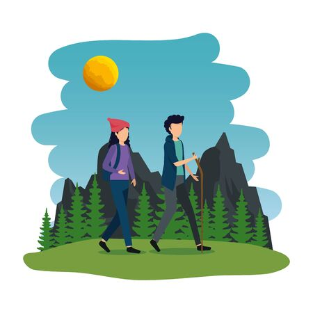 young couple in the camping zone vector illustration design