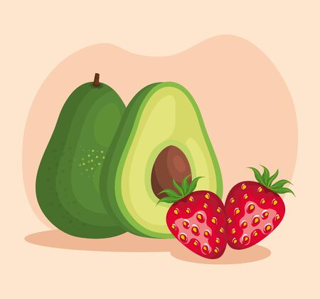 delicious avocado and strawberry fruits with leaves over pink background, vector illustration  イラスト・ベクター素材