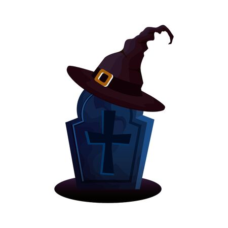 halloween tomb with hat witch vector illustration design