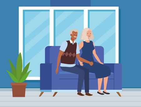 old woman and man couple sitting in the sofa with casual clothes, vector illustration