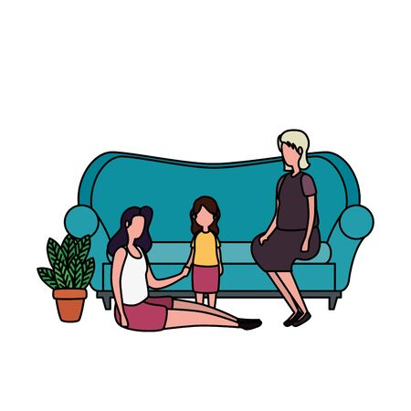 grandmothers with granddaughter in the sofa characters vector illustration design