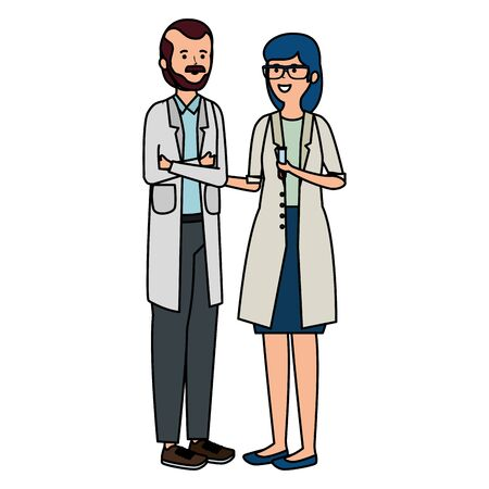 young professional doctors workers characters vector illustration design