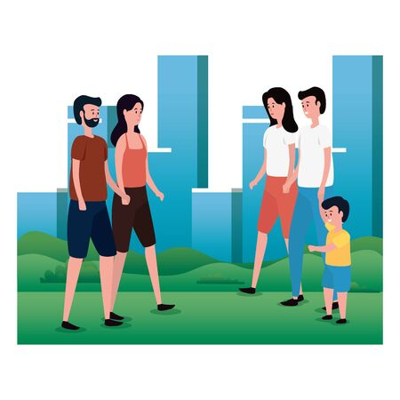 group of parents with little son on the park characters vector illustration design