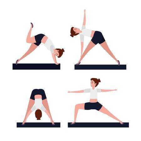 set of women practice yoga position over white background, vector illustration