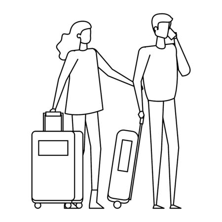young lovers couple with travel suitcases vector illustration design