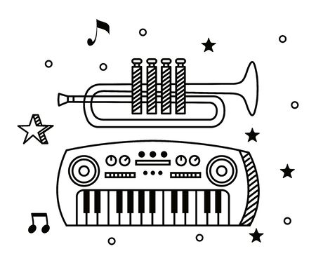 trumpet with piano instrument and quaver with beam notes to music melody vector illustration