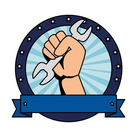 hand with wrench metal tool vector illustration design