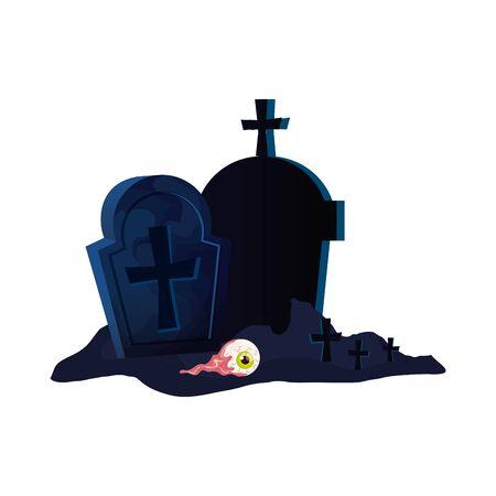 halloween tombs with eye scary vector illustration design Ilustracja