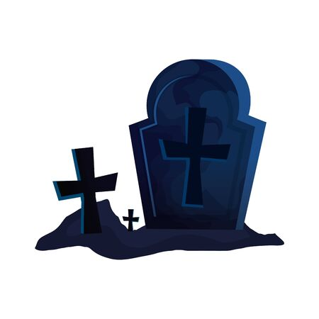 halloween tomb with crosses icon vector illustration design