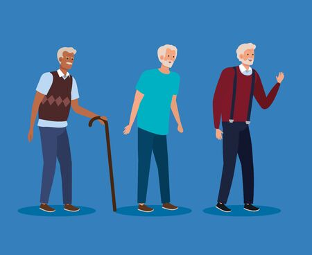 old men with casual clothes and hairstyle over blue background, vector illustration