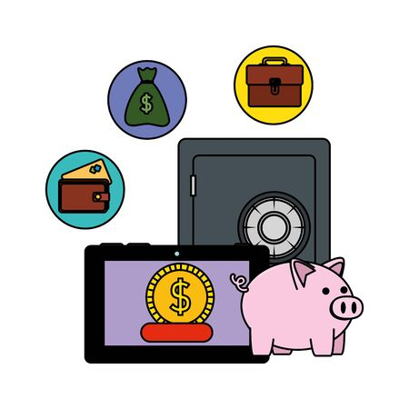 safe box with tablet and ecommerce icons vector illustration design