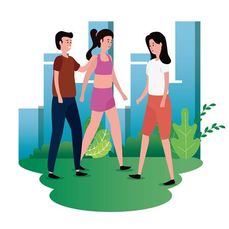 group of people on the park characters vector illustration design Vettoriali