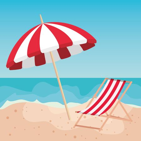 umbrella with tanning chair in the sand beach to summer time vector illustration