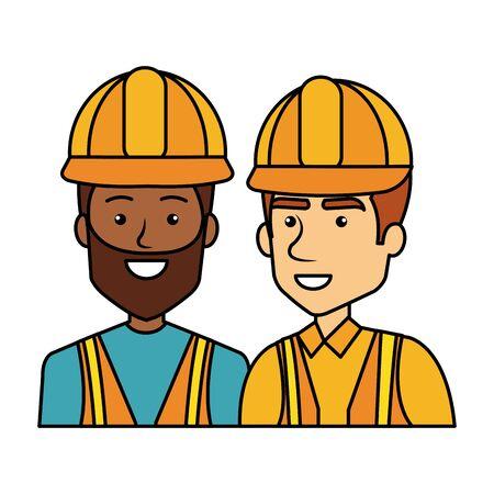 interracial builders constructors with helmets characters vector illustration design Ilustração