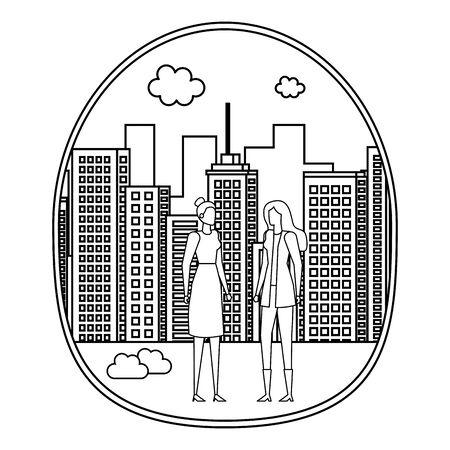 elegant young businesswomen on the city vector illustration design