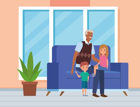 cute grandfather with his boy and girl kids in the home, vector illustration