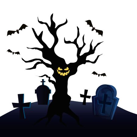 haunted dry tree in cemetery vector illustration design Illustration