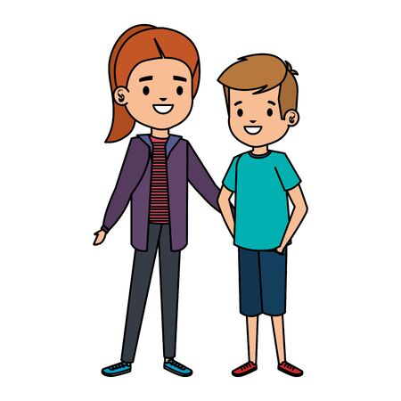 cute little kids couple characters vector illustration design 写真素材 - 134221090