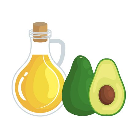 fresh avocado and oil olive healthy food vector illustration design