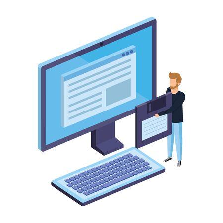 young man lifting floppy disk with desktop vector illustration design Ilustração