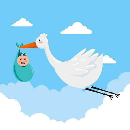 stork flying with cute baby and clouds to special celebration vector illustration