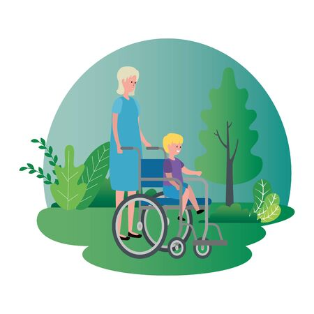 cute grandmother with grandson in wheelchair vector illustration design