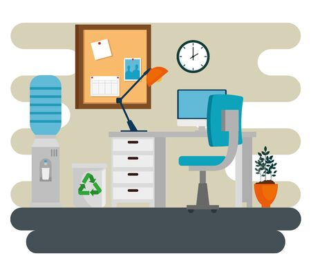 computer and lamp with desk and chair and noteboard in the business office, vector illustration