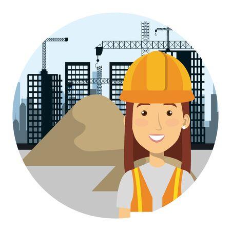 female builder constructor on workside character vector illustration design