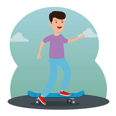 happy boy kid playing with skateboard and casual clothes vector illustration 向量圖像
