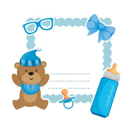 baby shower card with bear teddy and bottle milk vector illustration design Standard-Bild - 134220910