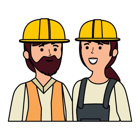 young couple mechanics workers characters vector illustration design