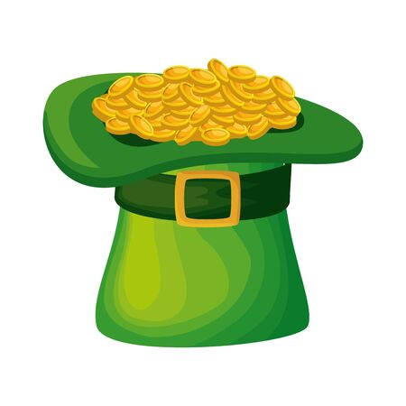 saint patrick card with hat leprechaun and coins vector illustration design  イラスト・ベクター素材