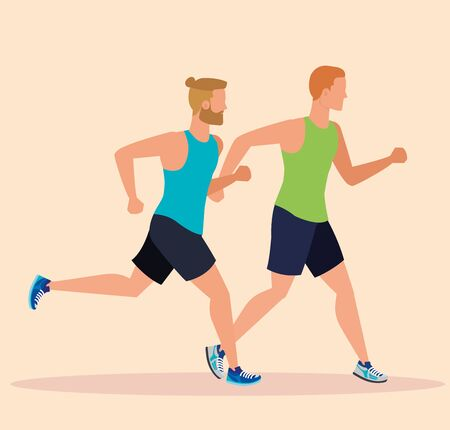man running exercise sport activity to healthy lifestyle, vector illustration