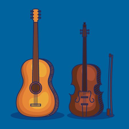 set of violin and guitar instruments style over blue background vector illustration