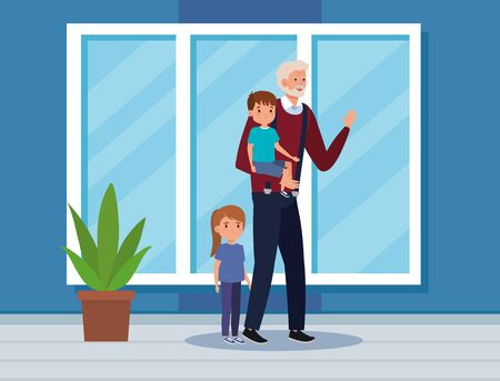 grandfather with his cute boy and girl kids in the home, vector illustration