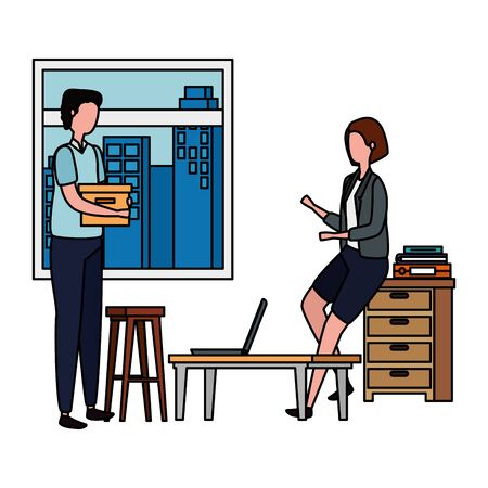 couple in office workplace scene with laptop vector illustration design