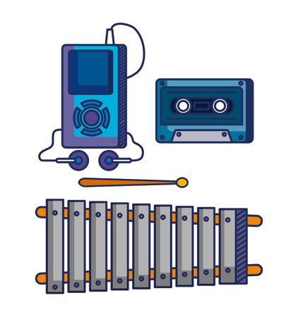 set of mp4 with headphones and cassette with marimba instrument to music melody vector illustration