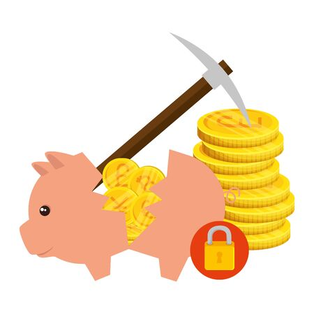 piggy savings with set of commercial coins vector illustration design
