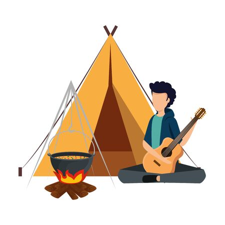 young man playing guitar with camping tent and woodfire vector illustration 向量圖像