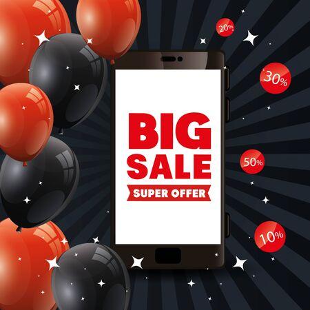 poster black friday poster with smartphone and big offer lettering vector illustration design Illustration
