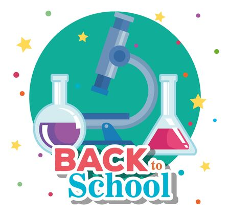 microscope with erlenmeyer flask elementary suppies to back to school vector illustration