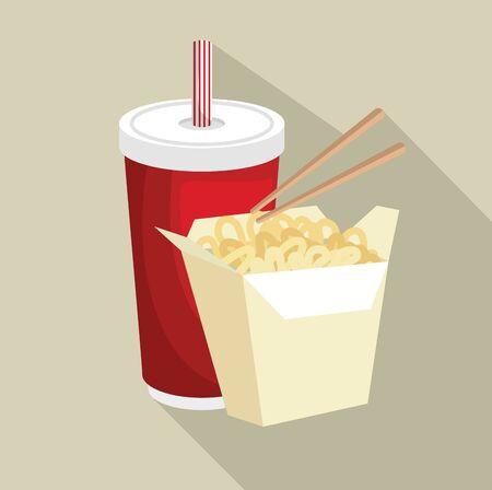 chinese food noodles vector illustration graphic design Illusztráció