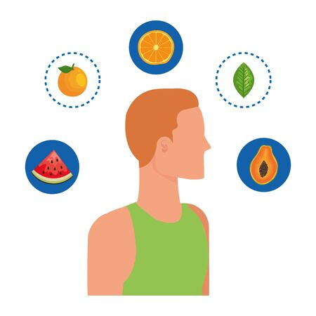 young man with healthy food icons vector illustration design
